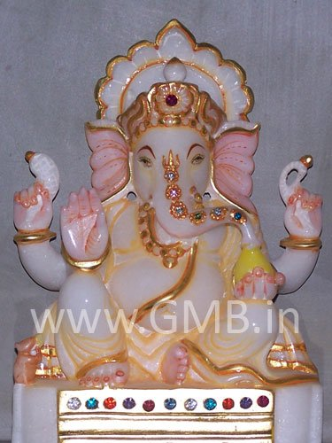 """Marble Statue of Lord Ganesh 09"""" - GNS09007"""