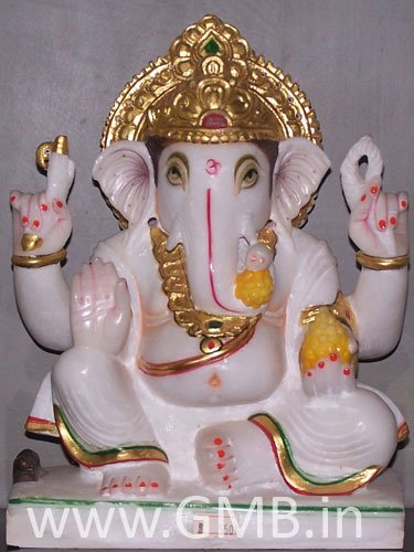 """Marble Statue of Lord Ganesh 09"""" - GNS09009"""