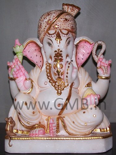 """Marble Ganesh Statue 12"""" - GNS120021"""