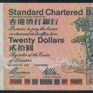 UNC Hong Kong Standard Chartered Bank 1997 HK$20 Banknote : CG 999333