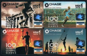 Bank Collectibles : Chase Souvenir Visa Card (in Smaller Size) x 4 Pieces