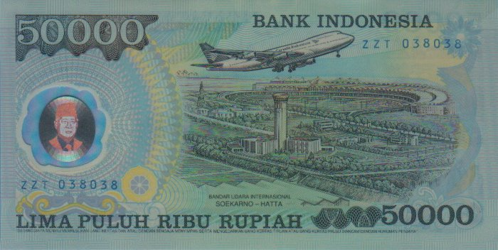 UNC Bank Indonesia 1993 Plastic IDR $50,0000 Banknote : ZZT 038038