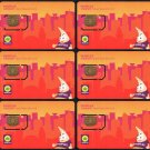 Hong Kong Phonecard : Peoples Stored Value GSM / SIM Telephone Card x 6 Pieces