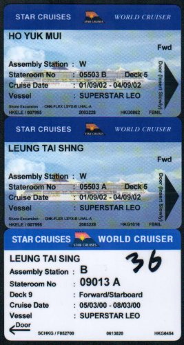 Hong Kong Boat / Ship Ticket : Star Cruises Boarding Ticket 1 Pieces, Room Key 2 Pieces
