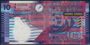 UNC Hong Kong Government 2002 HK$10 Banknote : HM 555888
