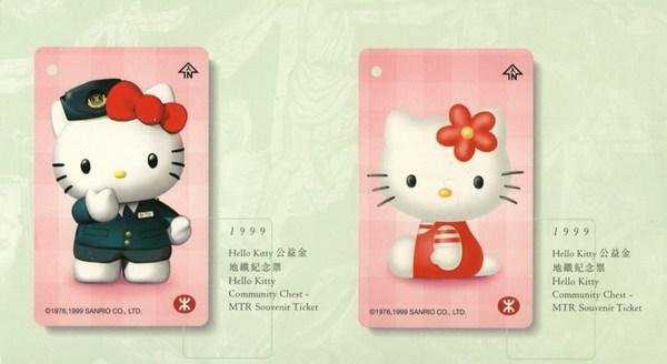 Hong Kong MTR Train Ticket : Hello Kitty  2 Pieces