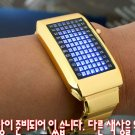 UNISEX Japanese LED WATCH Gold CASE & BLUE LED