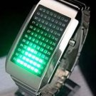 UNISEX Japanese LED WATCH SILVE CASE & GREEN LED