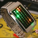 Japanese UNISEX shower  LED WATCH SILVE CASE & multi  LED