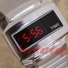 TIME UNISEX Japanese LED WATCH SILVE CASE & RED LED