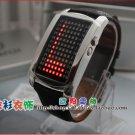 UNISEX Japanese LED WATCH SILVE CASE Black leather strap & RED LED