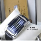 UNISEX Japanese LED WATCH SILVE CASE Black leather strap & BLUE LED