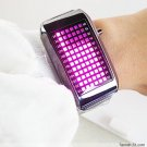 UNISEX Japanese LED WATCH SILVE CASE & Pink LED