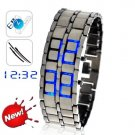 tokyo Japanese LED WATCH silver CASE & blue LED