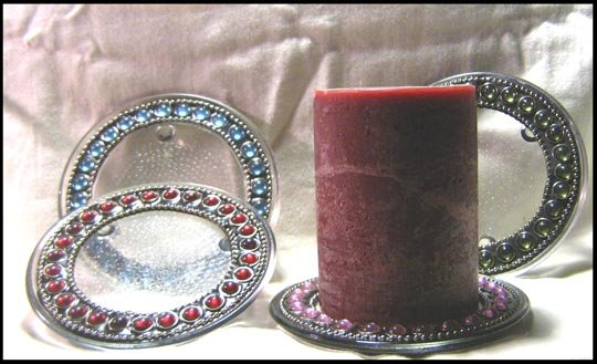 Glass Jeweled Candle Holders