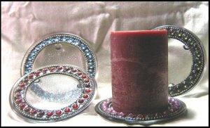 Glass Jeweled Candle Holders