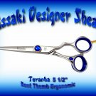 Kissaki Designer 5.5 inch Toranha Bent Thumb Ergonomic Professional Hair Shears / Scissors / Salon