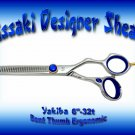 Kissaki Designer 6 inch Yakiba 32 tooth Bent Thumb Ergonomic Thinning Shears / Scissors / Salon
