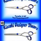 Kissaki Pro Hair 5.5 inch Toranha & 6 inch Yakiba 32 tooth Bent Thumb Ergonomic Shears Scissor Combo