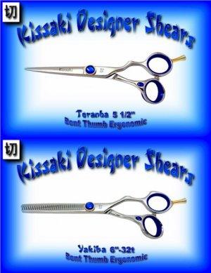 Kissaki Pro Hair 5.5 inch Toranha & 6 inch Yakiba 32 tooth Bent Thumb Ergonomic Shears Scissor Combo
