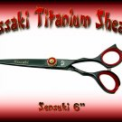 Kissaki Pro Hair 6 inch Sensuki Designer Series Black Titanium Shears / Scissors / Salon / Barber