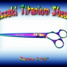 Kissaki Pro Hair 8.5 inch Kareru Rainbow Titanium Straight Dog Grooming Shears Scissors