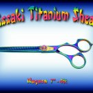 Kissaki Pro Hair 7 inch Nagasa 48 tooth Rainbow Titanium Dog Grooming Thinning Shears Scissors