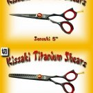 Kissaki Pro Hair 5 inch Sensuki & 5.5 inch Daisaku 26 tooth Black Titanium Shears Scissors Combo