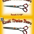 Kissaki Pro Hair 5.5 inch Sensuki & 5.5 inch Daisaku 26 tooth Black Titanium Shears Scissors Combo