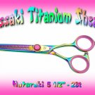 Hataraki 28 tooth Rainbow Titanium Professional Thinning Shears / Scissors