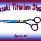 Kissaki Pro Hair Cutting 6 inch Jigane Designer Series Blue Titanium Salon Shears Barber Scissors