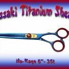 Kissaki Pro Hair 6 inch Na-Kago 35 tooth Blue Titanium Salon Thinning Shears Barber Scissors