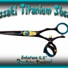 Kissaki 5.5 inch Gokatana Black B Titanium Double Swivel Hair Shears Salon Scissors