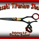 Kissaki 5.5 inch Gokatana Black R Titanium Double Swivel Hair Shears Salon Scissors