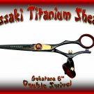 Kissaki 6 inch Gokatana Black R Titanium Double Swivel Hair Shears Salon Scissors