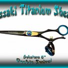Kissaki 6 inch Gokatana Black B Titanium Double Swivel Hair Shears Salon Scissors