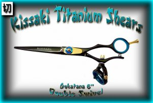 Kissaki 6 inch Gokatana Black B Titanium Double Swivel Hair Shears Salon Scissors