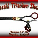 Kanagawa Double Swivel 5.5 inch 30-tooth Black R Titanium Professional Hair Thinning Shears Scissors