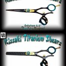 Gokatana 5.5 inch & Kanagawa 30t Double Swivel Black B Titanium Pro Hair Shears Scissors Combo