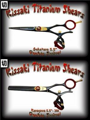 Gokatana 5.5 inch & Kanagawa 30t Double Swivel Black R Titanium Pro Hair Shears Scissors Combo