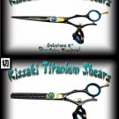 Gokatana 6 inch & Kanagawa 30t Double Swivel Black B Titanium Pro Hair Shears Scissors Combo
