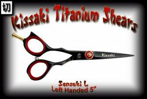 Kissaki Left Handed Pro Hair 5 inch Sensuki L Black Titanium Salon Shears Barber Scissors
