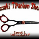 Kissaki Left Handed Pro Hair 5.5 inch Sensuki L Black Titanium Salon Shears Barber Scissors