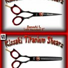 Kissaki Left Handed Pro Hair 5 inch Sensuki L & Daisaku L 26 tooth Black Titanium Shears Combo