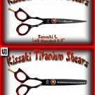 Kissaki Left Handed Pro Hair 5.5 inch Sensuki L & Daisaku L 26 tooth Black Titanium Shears Combo