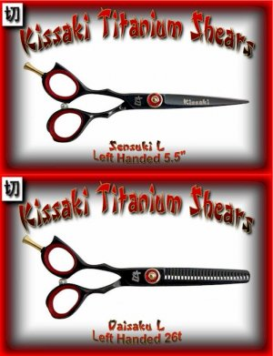 Kissaki Left Handed Pro Hair 5.5 inch Sensuki L & Daisaku L 26 tooth Black Titanium Shears Combo