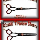 Kissaki Left Handed Pro Hair 6 inch Sensuki L & Daisaku L 26 tooth Black Titanium Shears Combo
