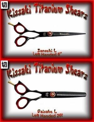 Kissaki Left Handed Pro Hair 6 inch Sensuki L & Daisaku L 26 tooth Black Titanium Shears Combo