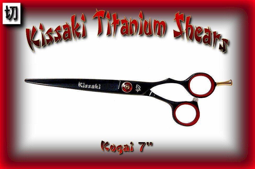 Kissaki 7 inch Kogai Professional Designer Series Black Titanium Hair Shears / Scissors / Salon
