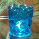 Moon and stars blue toothpick holder by L.E. Smith Glass